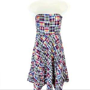 J. Crew Strapless Patchwork Plaid Fit/Flair Dress